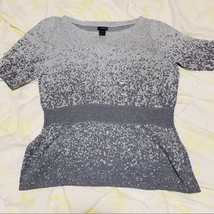 Ann Taylor Gray Short Sleeves Top Size: L New
